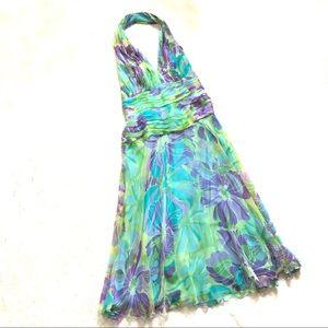 Tasdashi 100% silk flowing halter dress/ 10